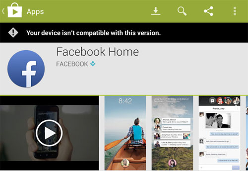 Facebook Home Unsupported in Android Devices