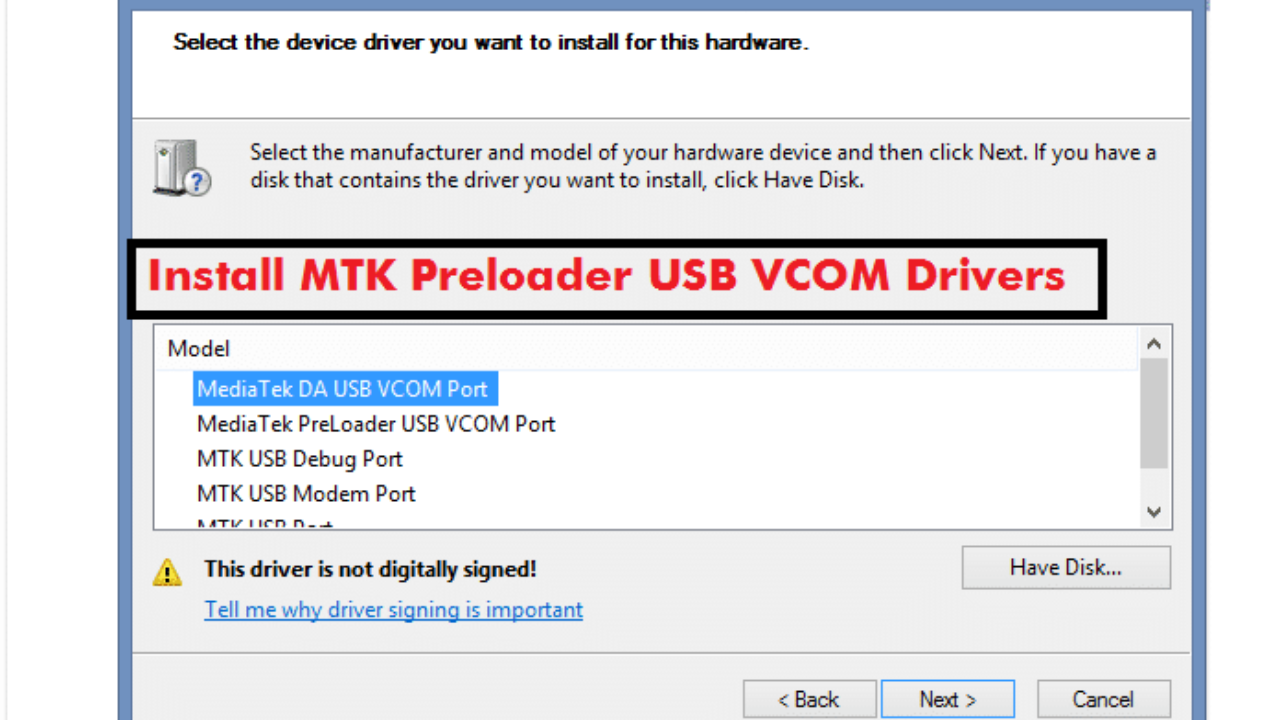 Install Mediatek USB VCOM Drivers in Windows 8 & 8 1