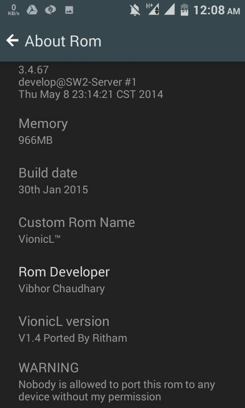 VionicL Lollipop 5.0 Rom for Micromax A106 Unite 2 1