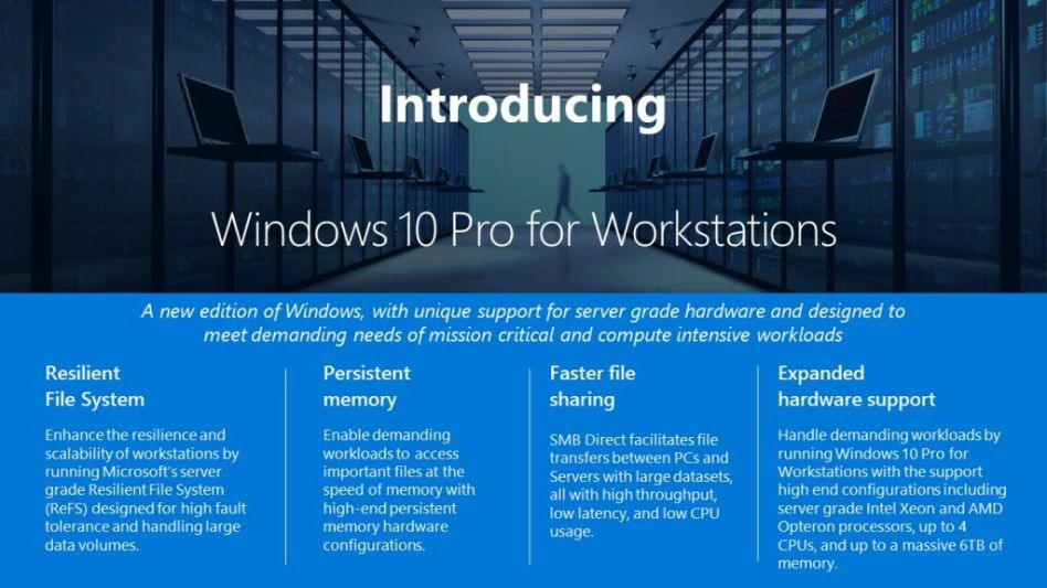 Microsoft Announced a New Version of Windows 10 Pro for Workstations 1