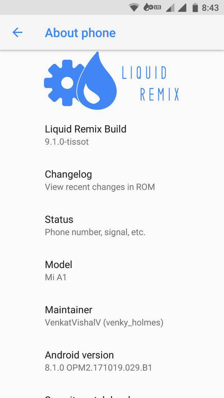 Liquid Remix for Mi A1, Liquid Remix for Xiaomi Mi A1 (tissot) Android 8.1 Oreo