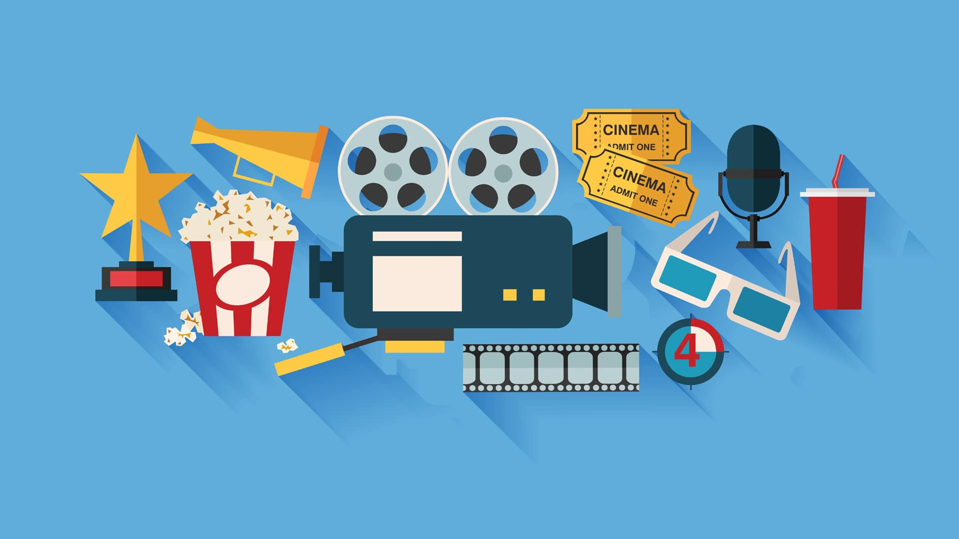 cartoon icons and symbols of entertainment services such as popcorn, movie tickets, 3d glasses, etc.