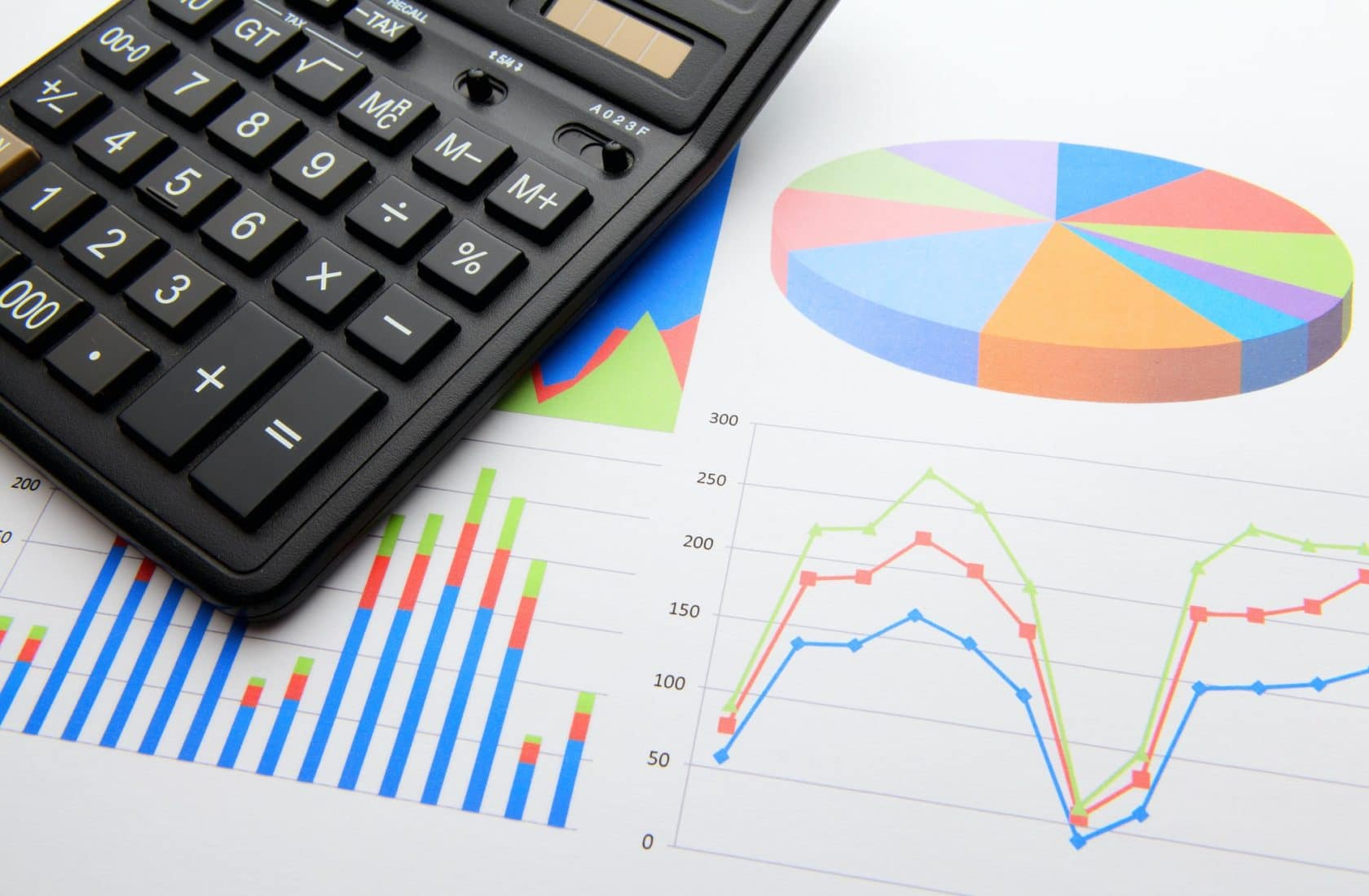 Data chart with calculator