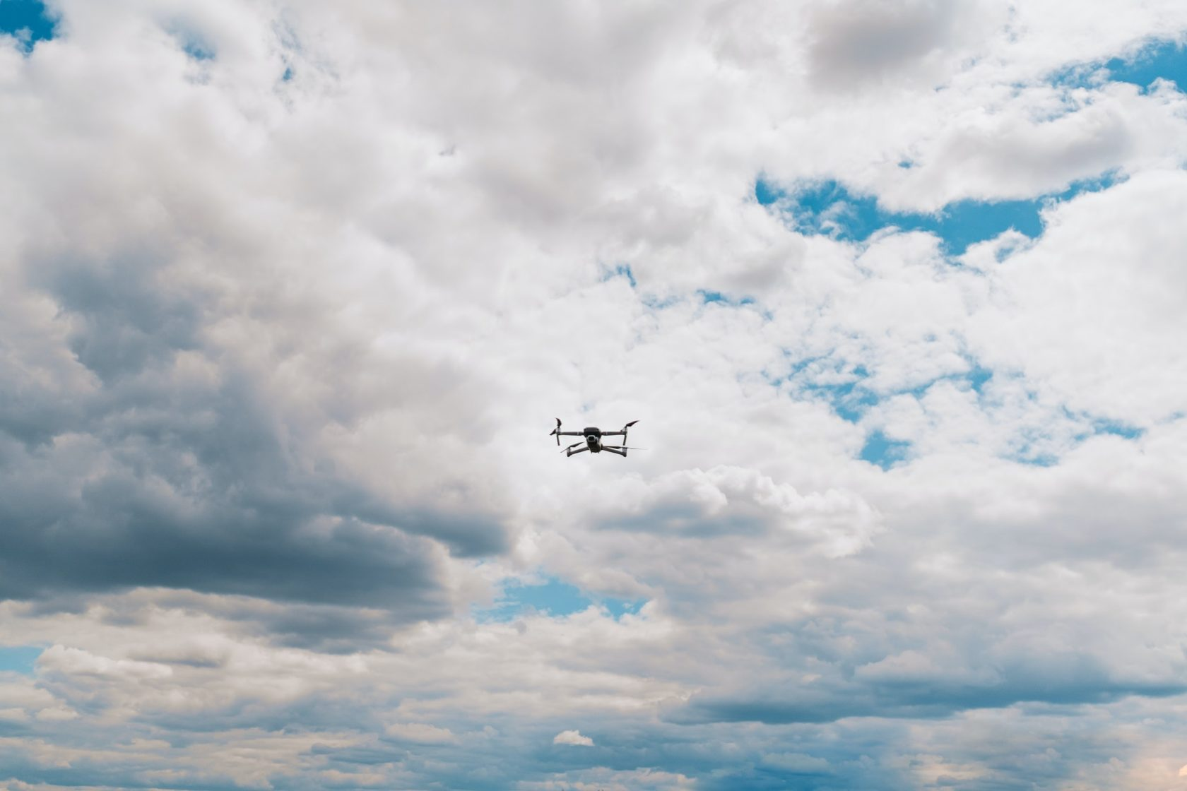 Drone flying into the sky
