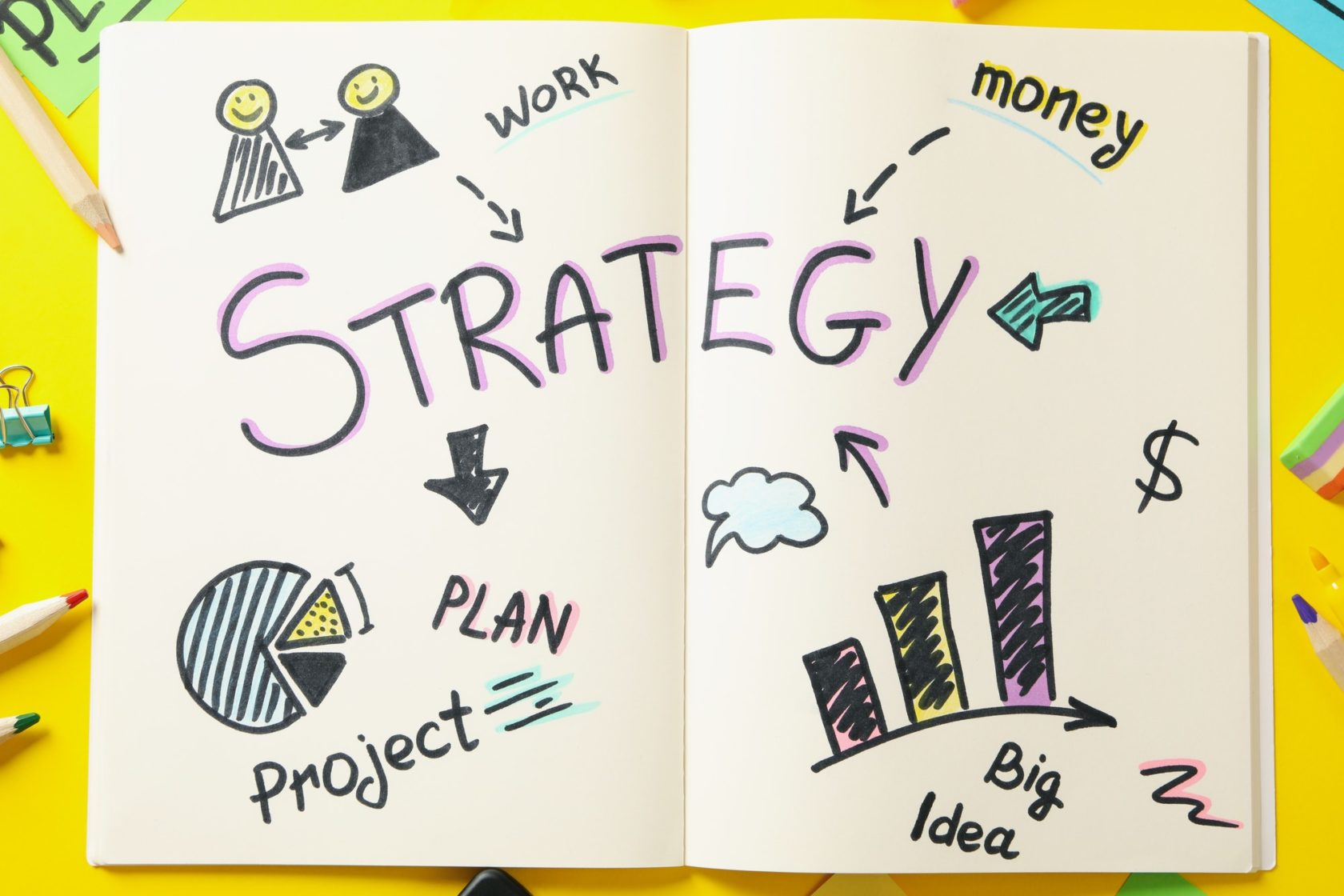 Concept of business strategy on yellow background