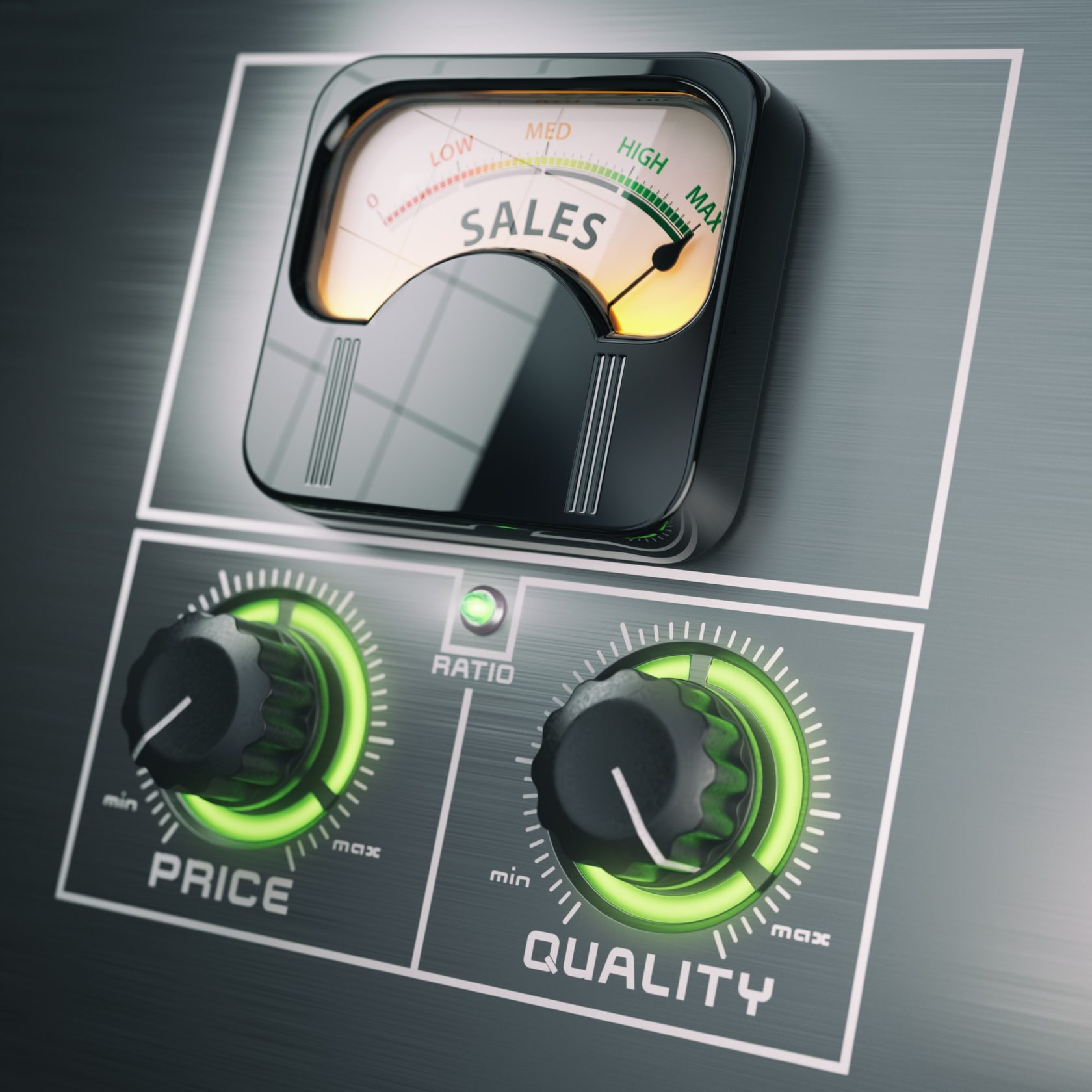 Sales price quality ratio control marketing concept. Maximum sal